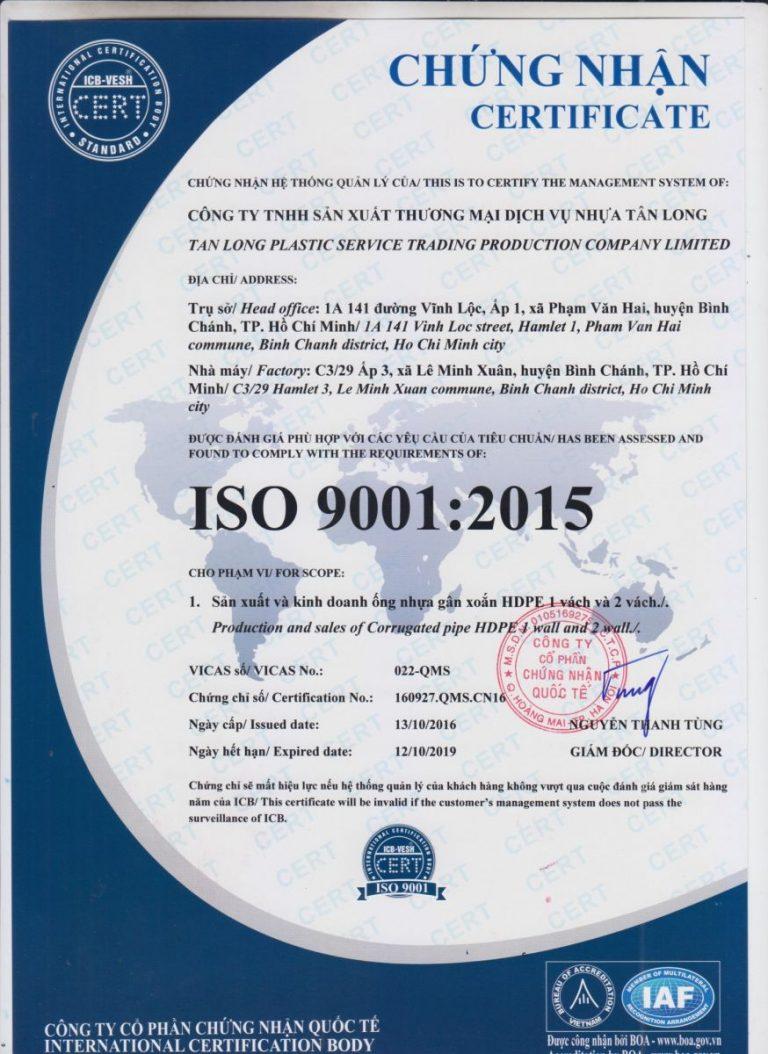 chứng nhận tiêu chuẩn ÔNG NHỰA HDPE